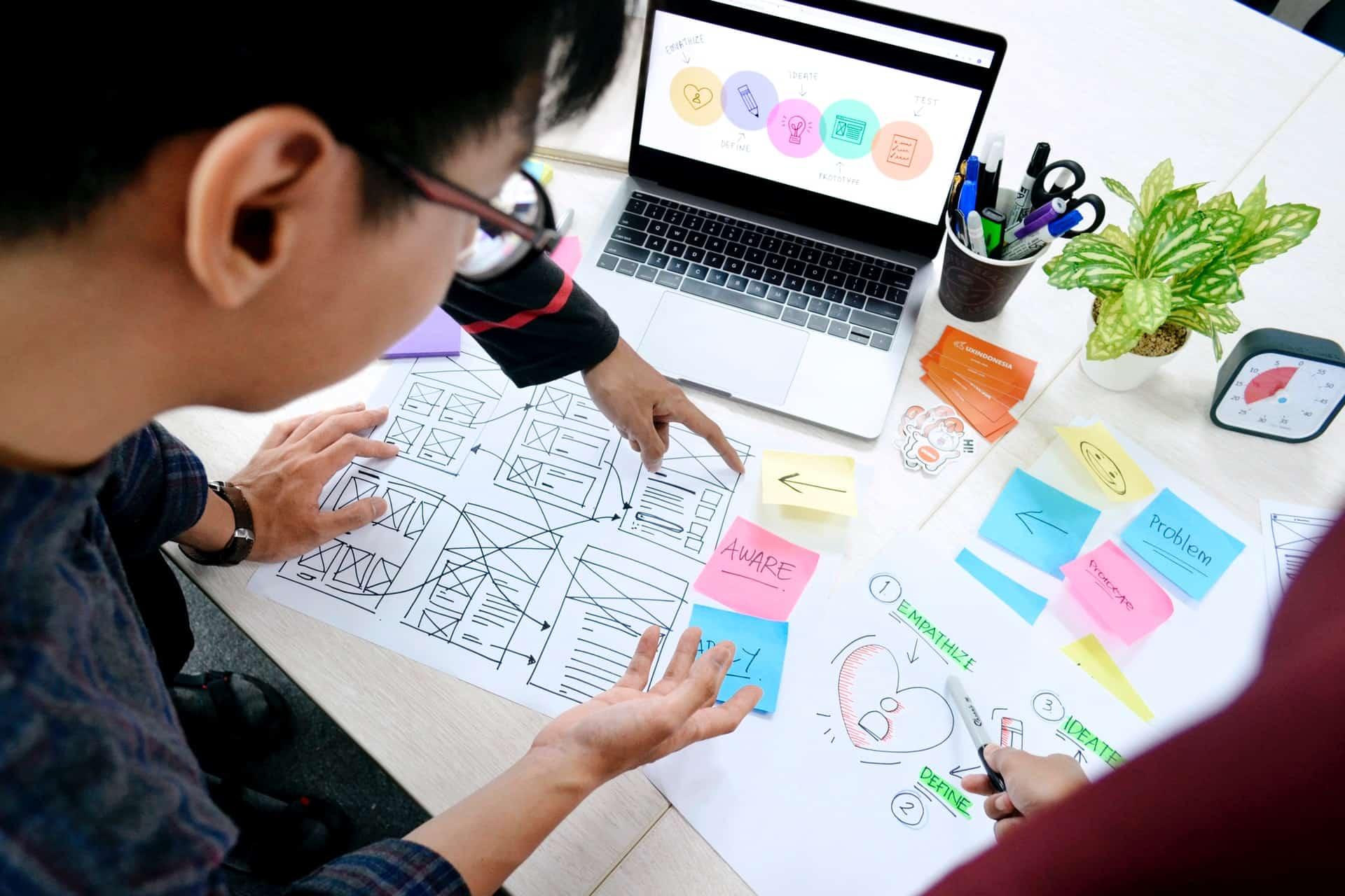 a man designing a responsive website