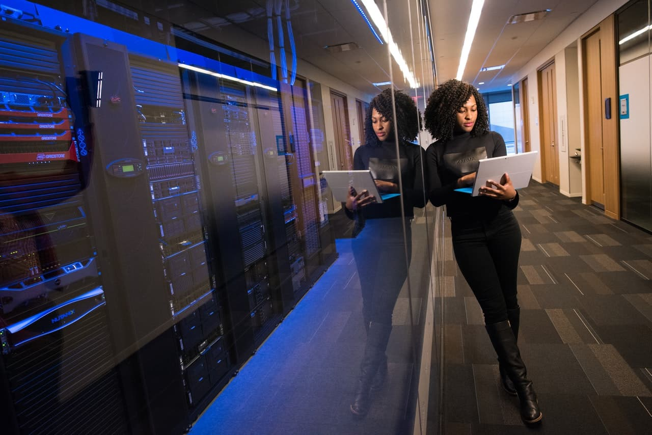 Woman managing a data centre