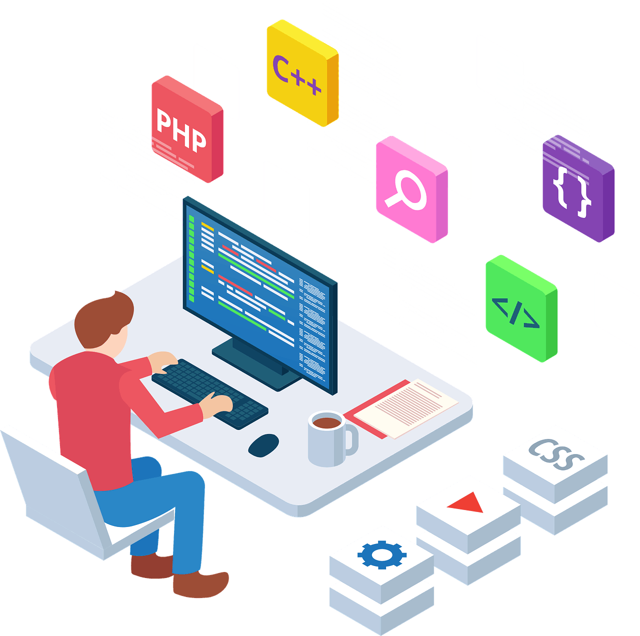 animated image of person sitting at his computer desk with blown-up images of programmer tools projected behind the monitor