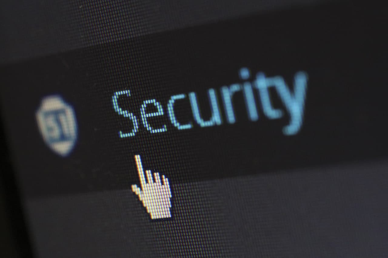 a close up of a monitor with the word security above the cursor