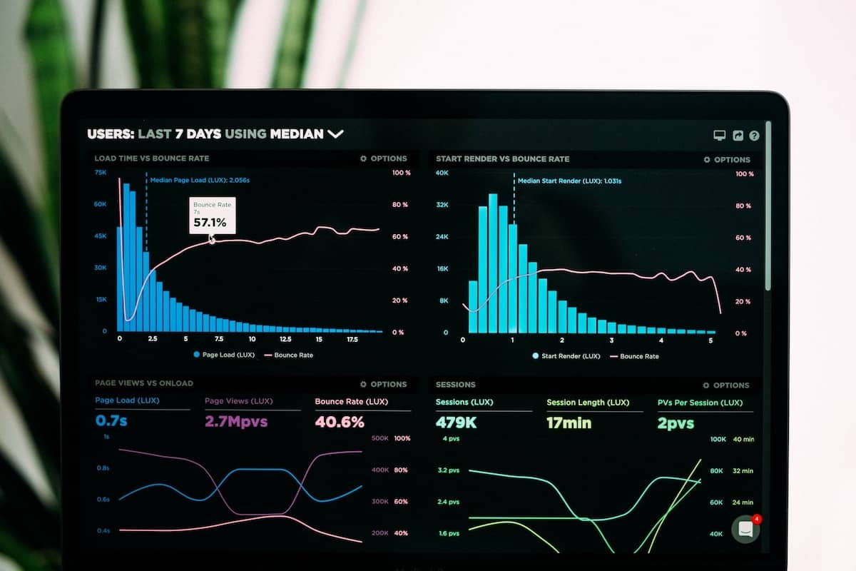 A laptop screen shows various charts that track internet users' usage of a specific site.
