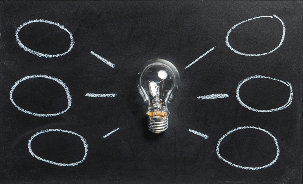 an idea map on a chalkboard with a lightbulb in the middle