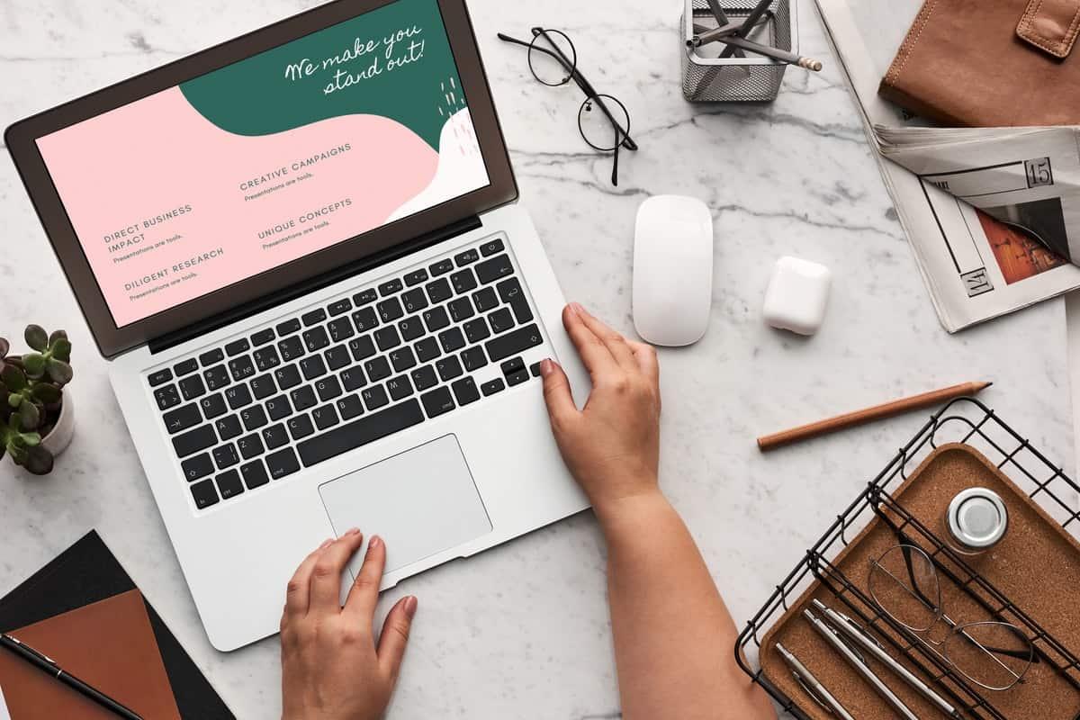 a laptop displaying web design
