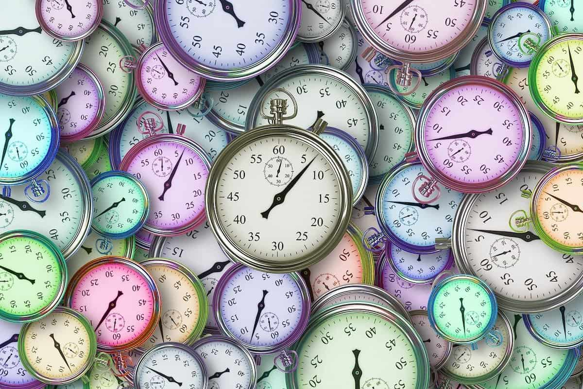 Dozens of clocks in many different colors and sizes How Long Are Coding Bootcamps?